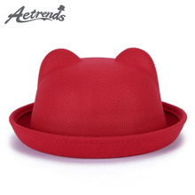 [AETRENDS] 2017 Women Girl's Wool Feeling Fedoras Cute Trendy Fedora Hat Z-5308()