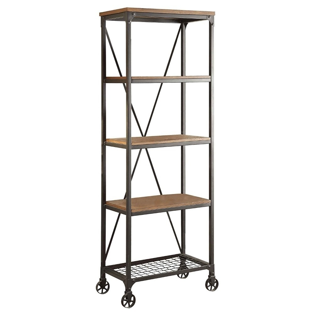 Industrial Style Metallic Book Case With Wooden Top And Shelves, Brown, Black,(5099-16)