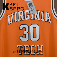 Custom Adult Throwback Basketball Jerseys #30 Dell Curry Virginia Tech college Boilermakers Embroidered Basketball Jersey(China)