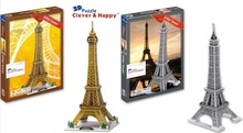 Candice guo 3D puzzle DIY toy paper building model assemble hand work game eiffel tower France Architecture birthday gift 1pc(China)