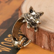H:HYDE New Vintage Silver Black Bronze Boho Wolf dog  Ring Animal Dog Ring Hippie Brass Knuckles Rings for Women