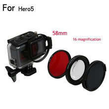 58mm Magnifier 16x Magnification Macro Close Up Lens + UV Filter for GoPro Hero 5 Black Edition Original Case GoPro Accessories(China)