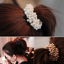 Gorgeous 1PC Fashion Korean Women Pearls Beads Hair Band Rope Scrunchie Ponytail Holder Hair pin  7CM+Adjustable Hairwear #0606