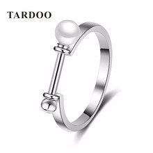 Tardoo Fashion Chic Charming Pearls Rings for Women   Simple Authentic S 925 Sterling Silver & Pearl Fine Jewelry
