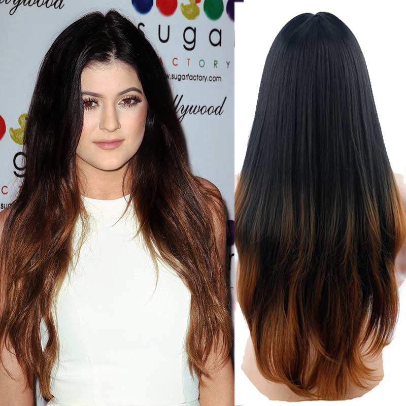 Ombre Synthetic Wigs for Black Women False Hair  Jenner  Wig Long Wavy Curly Female Wig Heat Resistant Wigs for Women Sale<br><br>Aliexpress
