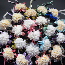Wedding decoration mariage rose Wrist Corsages Hand Flower silk Lace PE Foam Artificial Brides Bridesmaid wrist flower christmas(China)