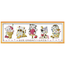 Lovely Ice Cream Cats Painting Counted Cross Stitch 11CT Printed 14CT Cross-Stitch Kit Handmade Home Decor Embroidery Needlework