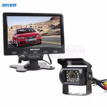 "DIYKIT Reversing System 7"" Touch Screen Car Monitor + IR Night Vision CCD Cameras For Trucks/ Caravans/ Buses(China)"