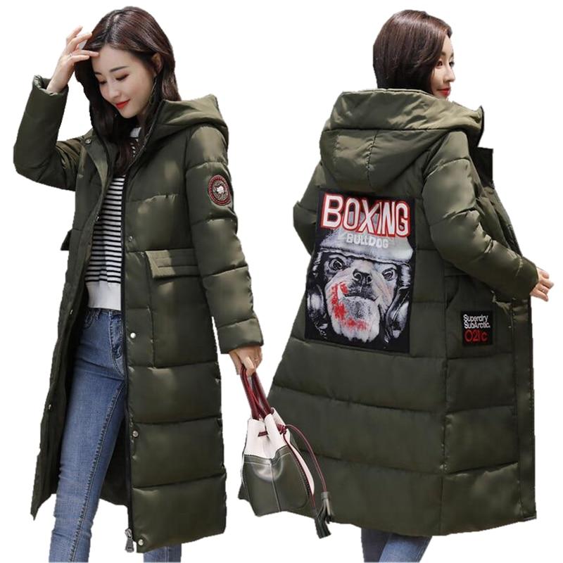 2017 New Medium Long Winter Jacket Women Printing Zipper Pockets Women Cotton-padded Winter Coat Outwear Female ParkasÎäåæäà è àêñåññóàðû<br><br>