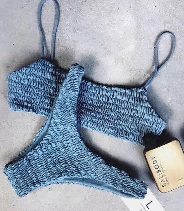 Ninacici Bikini Set 2017 Hot Solid Swimsuit Female Swimwear Women Patchwork Bandage Bather Sexy Summer Beachwear Bathingsuit<br>