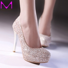 2016 Glitter Lady Spring Dress Shoes Stiletto Heel Platforms White Gold Wedding Dress Shoes Sparkling Nightclub Party Prom Shoes