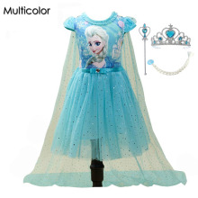 Customs Fashion Girls Children Clothes Anna Elsa Dress Girl Baby Elza Dresses For Girl's Kids Princess Vestidos Infantis Cloth(China)