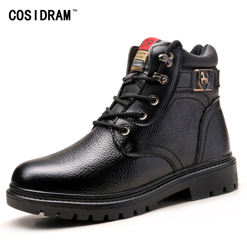 New 2016 Winter Men Boots Genuine Leather Warm Plu...