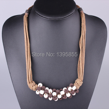 Fashion Jewelry Crystal Necklace Colourful Free Shipping Long Shift Rope Individuality Artificial Mix Colours Bead DIY Nature