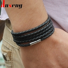 Anseng brand black retro Wrap Long leather bracelet men bangles fashion sproty Chain link male charm bracelet with 5 laps