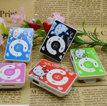 Lovely 10pcs/lot cartoon hellokity card Mp3 player support 1 to 8gb micro SD/TF Card free shipping kids gift(China)