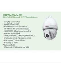 DAHUA 2MP IR PTZ Dome camera 20X Waterproof IP66 high-speed Dome Camera with ONVIF SD6982A-HN,free DHL shipping