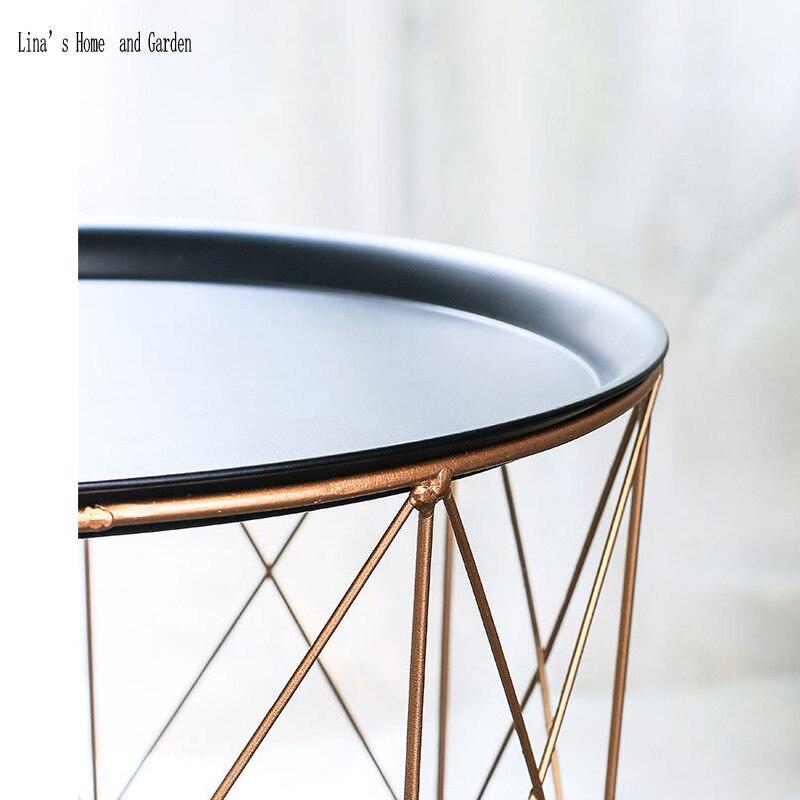 modern rose golden round wire metal storage basket side table (3)