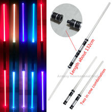 Star Wars Lightsaber LED 7 colors changing double sword top 2107 toys star wars swords cosplay props halloween - Anthnoy's International Trade store