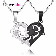 Uloveido Stainless Steel Heart Clover Couple Necklaces & Pendants Suspension Friendship Necklace Set Men Jewelry 5% Off STN077(China)