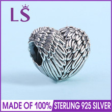 LS High Quality 925 Sterling Silver Angelic Feathers Charm Beads Fit Original Bracelets Pulseira Encantos.100% Fine Jewlery W