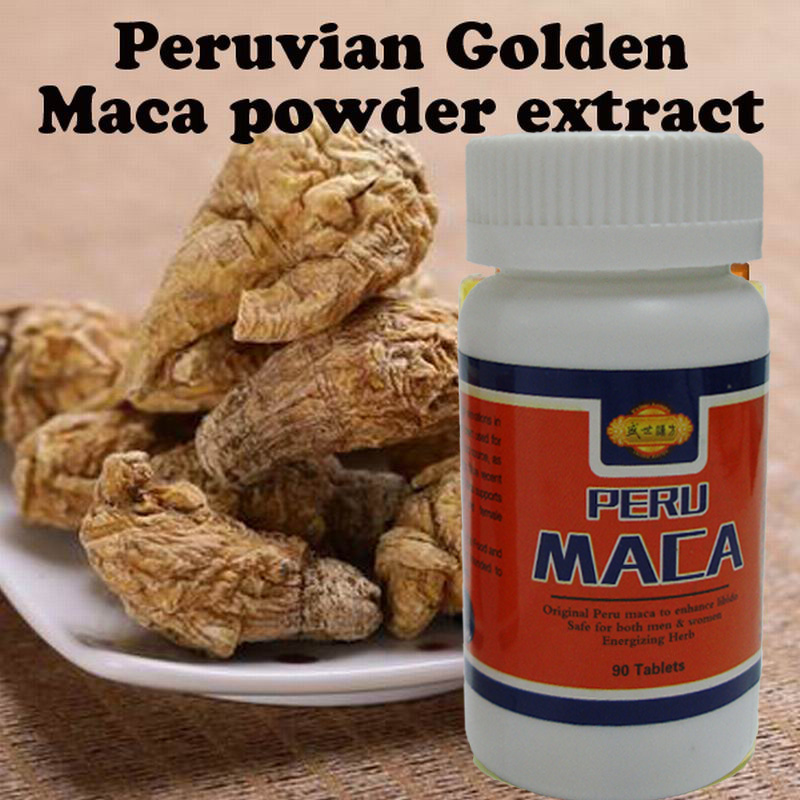 (2 bottles ) 90 tablets per bottle Peruvian Golden maca powder extracts 100% organic maca health care for men(China (Mainland))