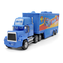 Pixar Cars Movie Metal Diecast Car Truck Container Mack Uncle Blue No.80 Gask-Its Racer's Truck 1:43 Alloy Model kid's toy(China)