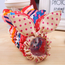 100Pcs Rabbit Ears Hair Tie/Ring Polka Dot Elastic Hair Band Hairbands Headbands Rubber Scrunchy Ponytail Holder Girls Headwear(China)