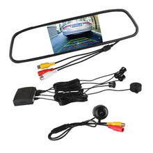 "3 in 1 Dual Core LCD Car Video Parking Assistance Radar Sensor + Rear View Camera + 4.3"" LCD Car Rear view Mirror Monitor(China)"