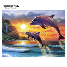 DIY Diamond Painting Animal Dolphin Lovers Cross Stitch Multi-Faceted Diamond Embroidery Picture  Mosaic Home Decoration AJ679