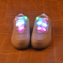 1 pair Nylon Strap Shoelace LED Flash Light Up Glow Luminous Shoe Laces Party OG