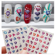1Pcs New Fashion Gems Water Transfer 3D Nail Art Sticker Full Wraps Manicure Decal DIY for Nails /Phone Case Accessories QJ-471