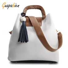 Guapabien Ethic Knitting Hollow Out Handle Tote Bag Solid Color Leather Shoulder Bag With Tassel Women Large Capacity Bucket Bag