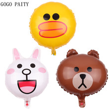 GOGO PAITY  Free shipping 18 inch rabbit bear  duck cartoon series aluminum balloon ball party layout decoration