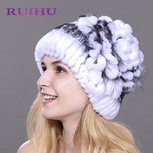 RUIHU Women Rex Rabbit + Fox Fur Hat Female Genuine Winter Women Fur Caps Lady Headgear Beanies For Russia Ukraine RHM710(China)