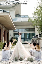 Gorgeous A-line Wedding Dresses Sexy Backless Tulle Bridal Gowns Sweetheart Neckline Chapel Train vestido de noiva(China)