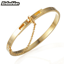 Enfashion Safety Chain Cuff Bracelet Noeud armband Gold Color Bangle Bracelet For Women Bracelets Manchette Bangles Pulseiras(China)