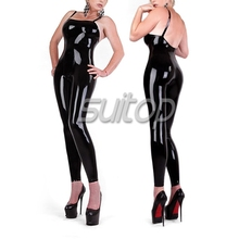 Buy Suitop sleeveless latex black catsuit sexy rubber latex tights women