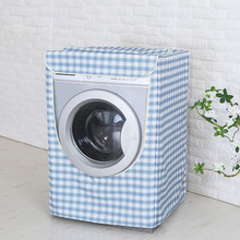 Waterproof and Sunscreen Washing Machine Dryer Cover Plaid Polyester Fabric Passport Cover cubierta lavadora(China)