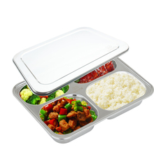 4 compartment food container with lid divided plate bento box lunch tray with cover