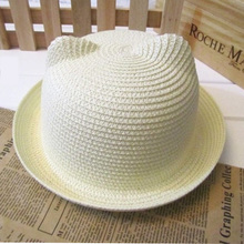 Lovely Plain Cat Ear Straw Sun Hat For Kids Girls High Quality Solid Candy Color Summer Beach Sun Hat Caps Accessories