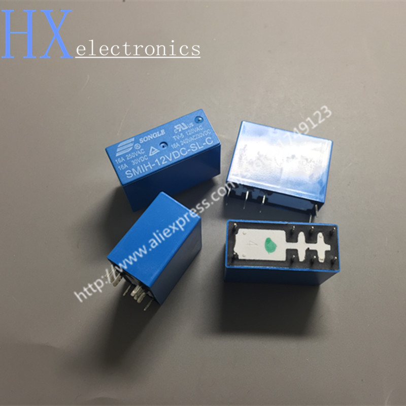 2pcs 6pins 12V SMIH-12VDC-SL-A 16A 250VAC 30VDC Relay
