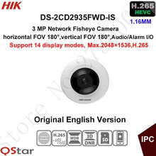 Hikvision 3MP H.265 Mini Fisheye Security IP Camera DS-2CD2935FWD-IS CCTV Camera POE Support 14 display modes Audio/Alarm IO(China)
