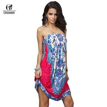 Bohemian Casual Women Dresses Summer Style Wrapped Chest Silk Dress Backless Sexy Dress Extra Large Hot Sale Large Size(China)
