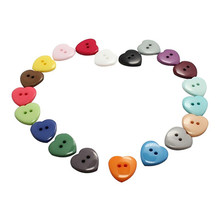 100PCs Heart Mixed Colors Resin Buttons Fit Sewing or Scrapbooking 10mm