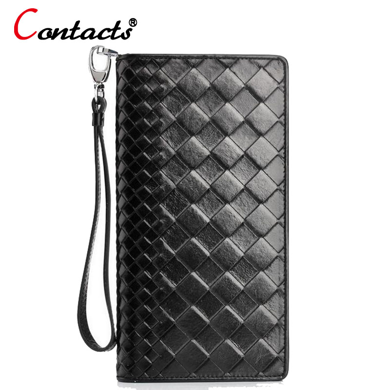 CONTACTS Luxury Mens Leather Wallet long Clutch Famous Brands Multifonction Card Designer Purses Zipper Genuine Leather wallet<br>