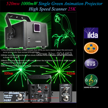 2014 1W Single Green Animation 1000mW 520nm Fat Laser Lighting light Projector ILDA High Speed Scanner 25K DMX 12 channels DHL