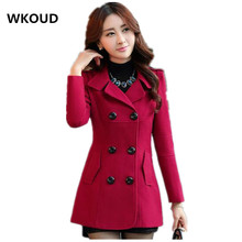 WKOUD Women Woolen Coats Winter Trench Coat Fashion Solid Double Breasted Overcoat Turn-down Collar Slim Outerwear C8103