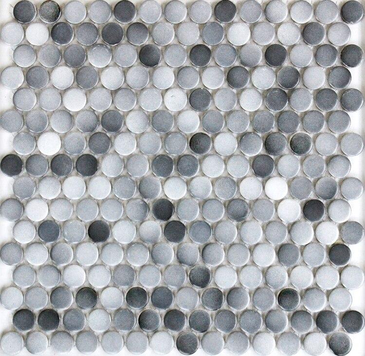 gray color 19mm round matt ceramic mosaic bathroom shower floor wall ...