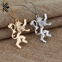 Game Of Thrones House Lannister Gold/Silver C Lion Chain Necklace Europe America Movie Women And Men Pendant Necklace(China)